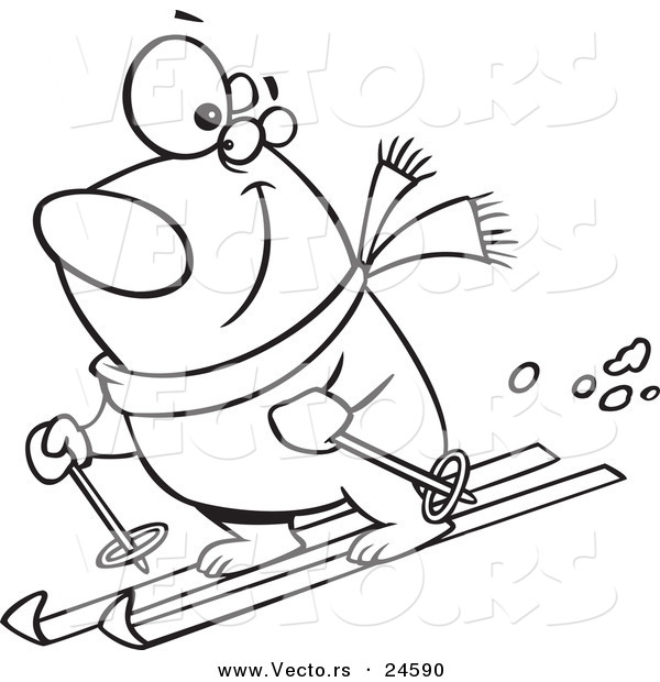 Vector of a Cartoon Skiing Polar Bear - Outlined Coloring Page