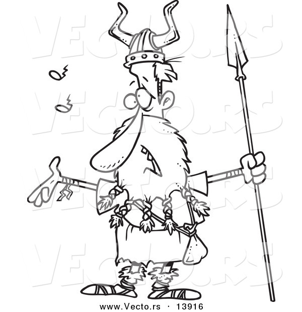 Vector of a Cartoon Skinny Male Viking Holding a Spear and Singing - Coloring Page Outline