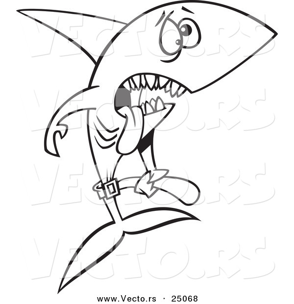 Vector of a Cartoon Skinny Starving Shark - Outlined Coloring Page