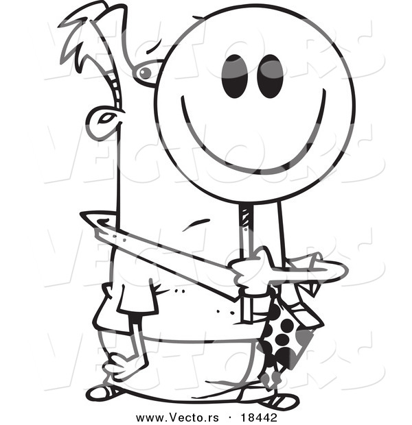 Vector of a Cartoon Smiley Face Businessman - Outlined Coloring Page