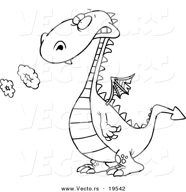 Vector of a Cartoon Smoking Dragon - Outlined Coloring Page