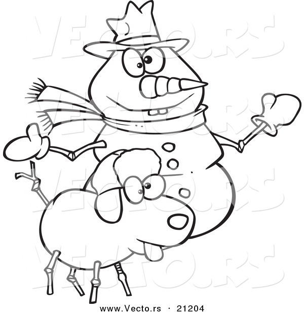 Vector of a Cartoon Snow Dog and Snowman - Coloring Page Outline