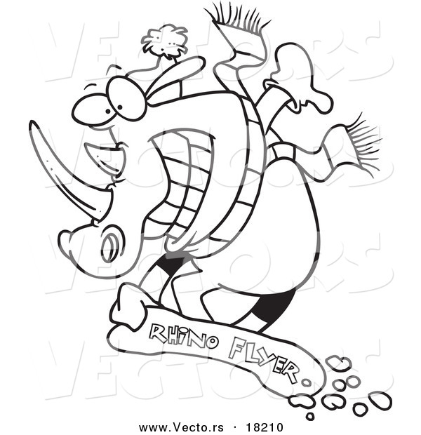 Vector of a Cartoon Snowboarding Rhino - Outlined Coloring Page