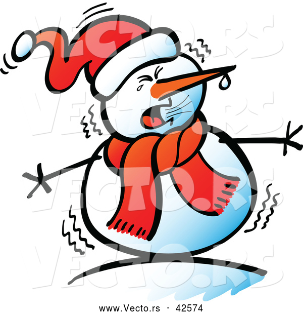 Vector of a Cartoon Snowman Shivering in the Cold Weather