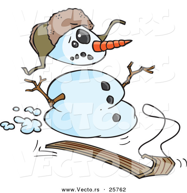 Vector of a Cartoon Snowman Sledding down Hill