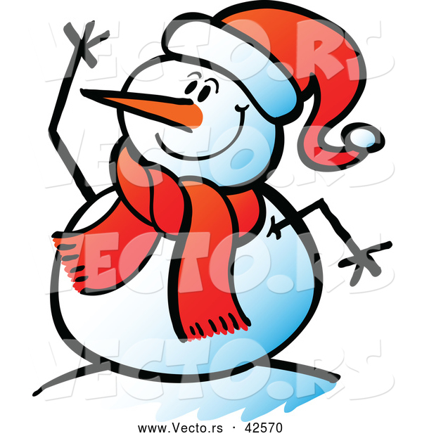 Vector of a Cartoon Snowman Waving While Smiling