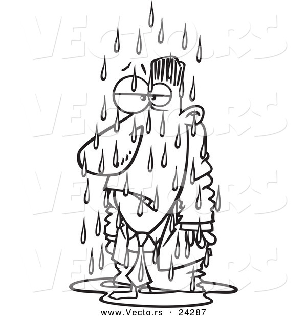 Vector of a Cartoon Soaked Businessman Black and White Outline - Outlined Coloring Page