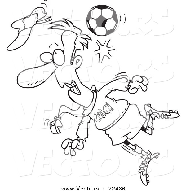 Vector of a Cartoon Soccer Ball Hitting a Coach - Coloring Page Outline