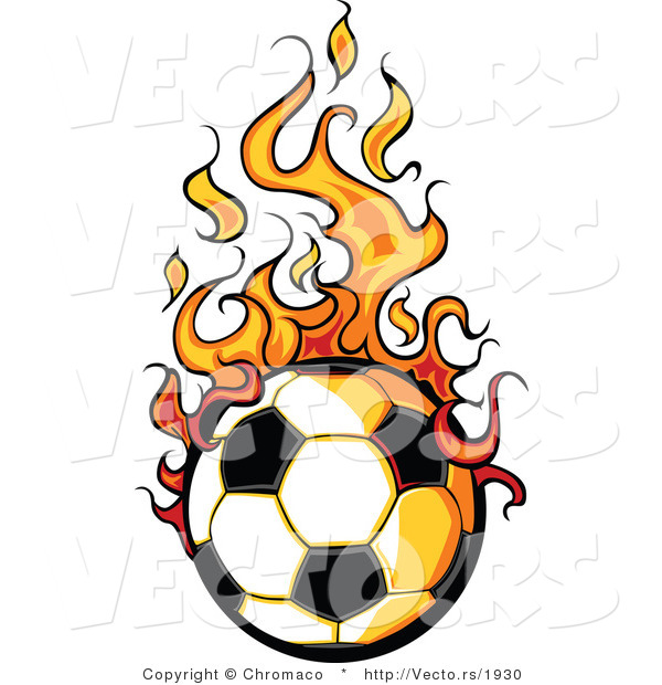 Vector of a Cartoon Soccer Ball with Trailing Flames