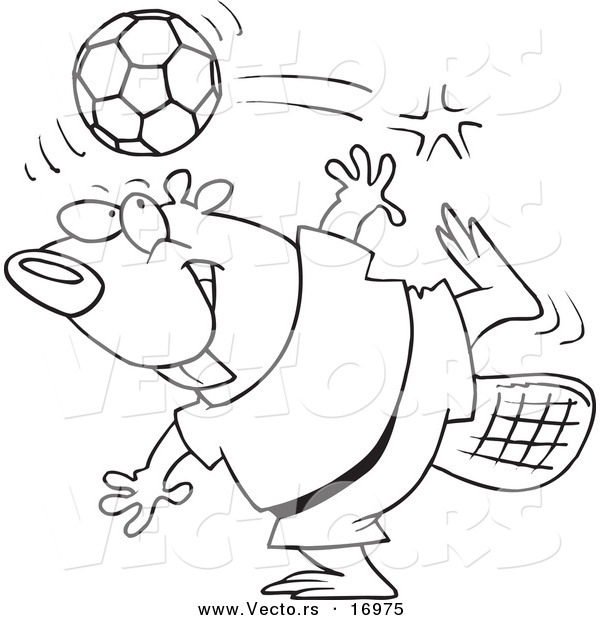 Vector of a Cartoon Soccer Beaver - Coloring Page Outline