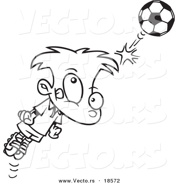 Vector of a Cartoon Soccer Boy Bouncing a Ball off His Head - Outlined Coloring Page