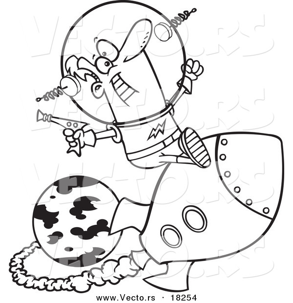 Vector Of A Cartoon Space Man Riding Rocket Outlined