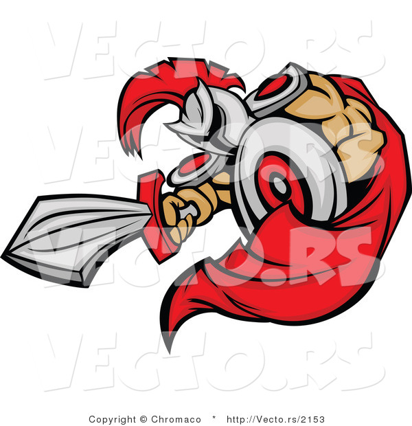 Vector of a Cartoon Spartan Mascot Jabbing Outwards with Sword While Using Shield As Protection