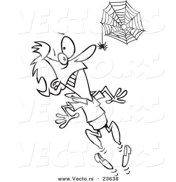 Vector of a Cartoon Spider Scaring a Woman - Coloring Page Outline