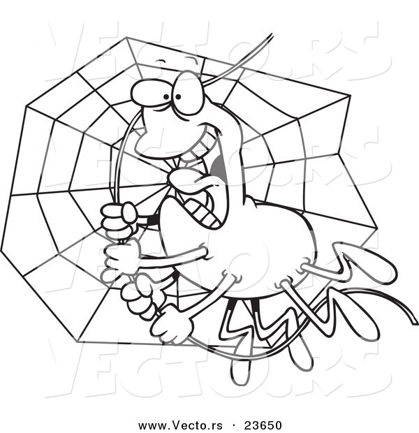 Vector of a Cartoon Spider Swinging on Silk - Coloring Page Outline