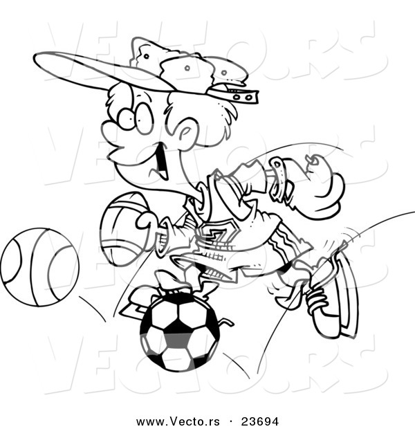 Vector of a Cartoon Sporty Boy with a Baseball Glove, Basketball, Football and Soccer Ball - Coloring Page Outline