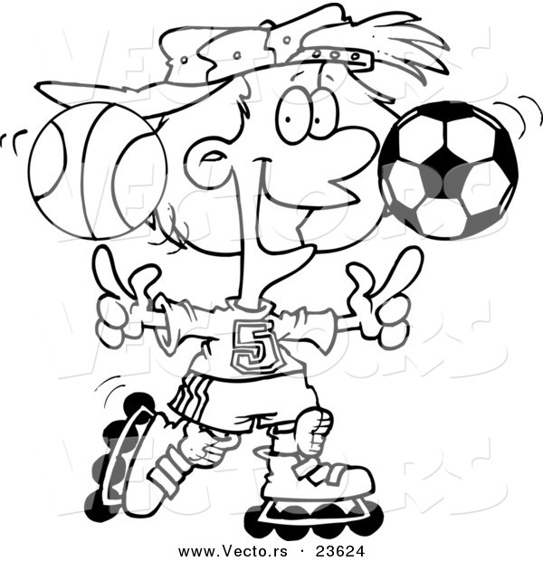 Vector of a Cartoon Sporty Girl Roller Blading with a Basketball and Soccer Ball - Coloring Page Outline