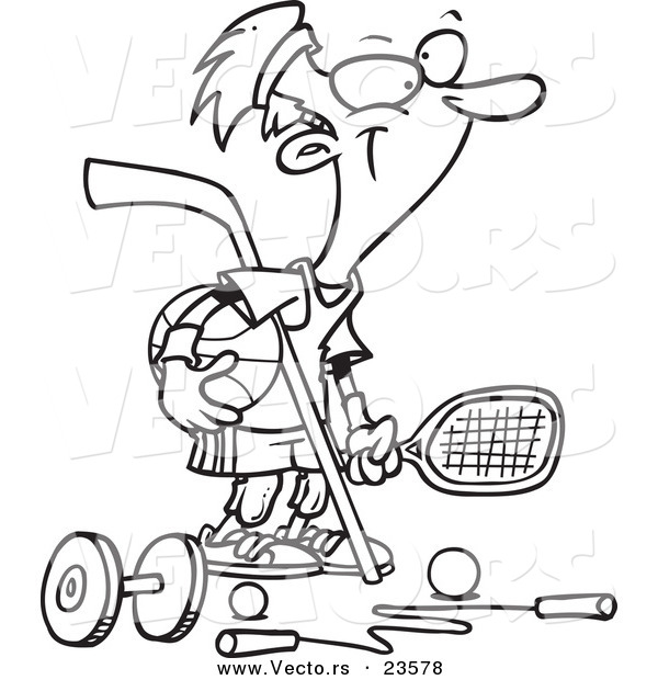 Vector of a Cartoon Sporty Guy - Coloring Page Outline