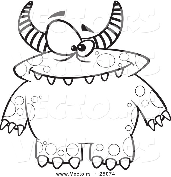 Vector Of A Cartoon Spotted And Horned Monster Outlined Coloring Page By Ron Leishman 25074