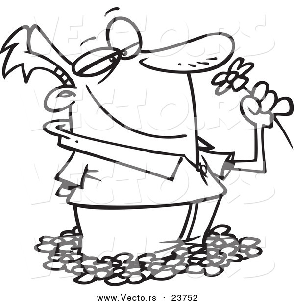 Vector of a Cartoon Spring Bliss Man Smelling Flowers - Coloring Page Outline