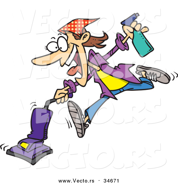 Vector of a Cartoon Spring Cleaning Woman Vacuuming