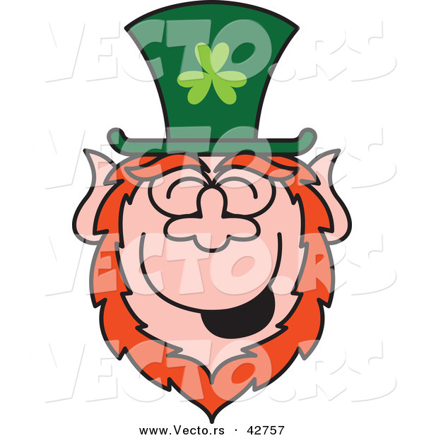 Vector of a Cartoon St. Paddy's Day Leprechaun Laughing