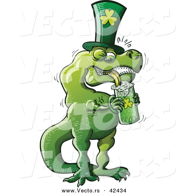 Vector of a Cartoon St. Patrick's Day T-Rex Drinking Beer from Clover Mug