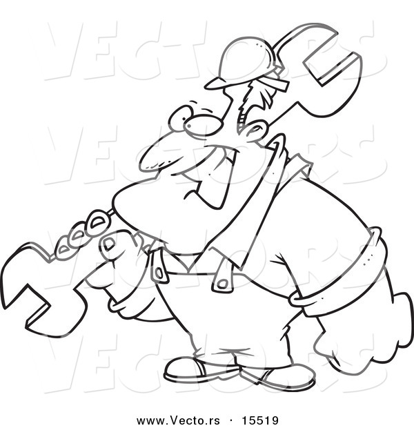 Vector of a Cartoon Strong Builder Carrying a Wrench - Coloring Page Outline