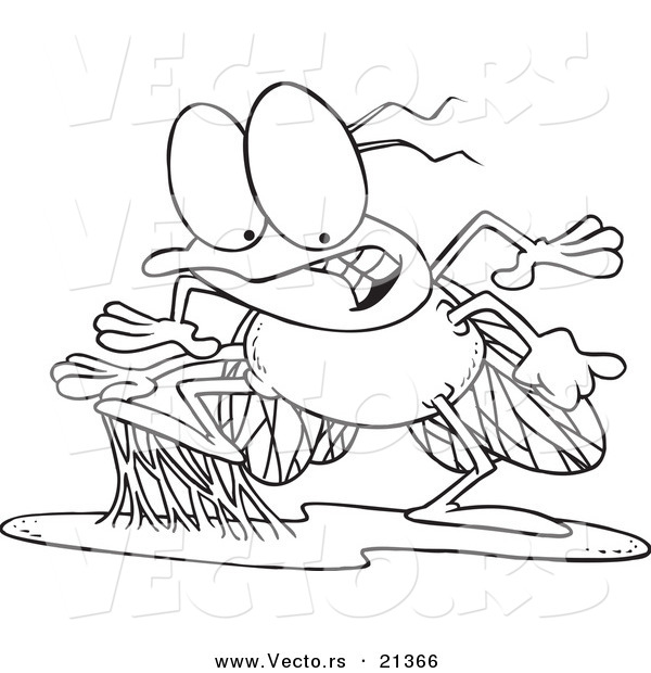 Vector of a Cartoon Stuck Fly - Outlined Coloring Page