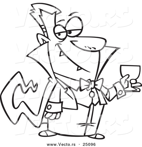 Vector of a Cartoon Suave Halloween Dracula Vampire Drinking Blood - Outlined Coloring Page