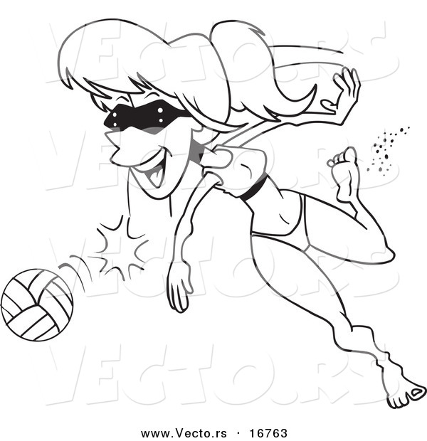 Vector of a Cartoon Summer Woman Playing Beach Volleyball - Coloring Page Outline