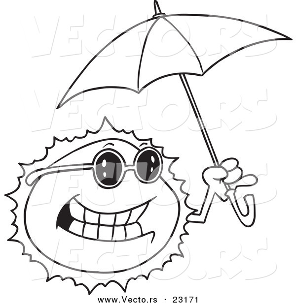 Vector of a Cartoon Sun Holding an Umbrella - Coloring Page Outline