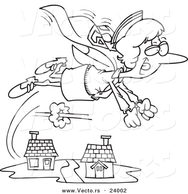 Vector of a Cartoon Super Nurse Flying - Coloring Page Outline