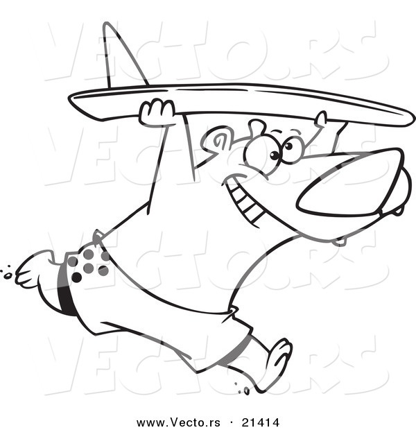 Vector of a Cartoon Surfer Bear - Outlined Coloring Page