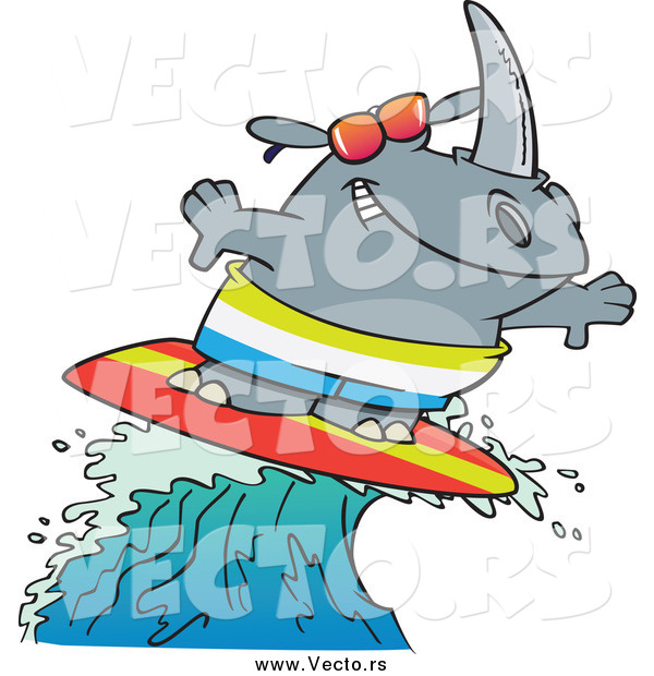 Vector of a Cartoon Surfer Rhino Riding a Wave
