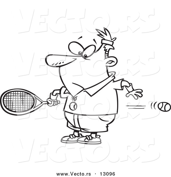 Vector of a Cartoon Surprised Man Watching a Fast Tennis Ball Fly Through His Belly - Outlined Coloring Page
