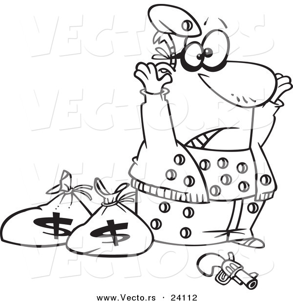 Vector of a Cartoon Surrendering Bank Robber Riddled with Holes - Coloring Page Outline