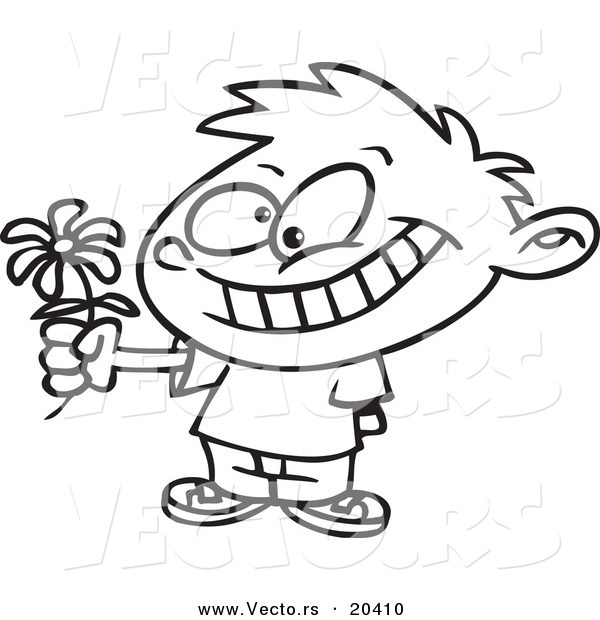 Vector of a Cartoon Sweet Boy Giving a Daisy - Coloring Page Outline