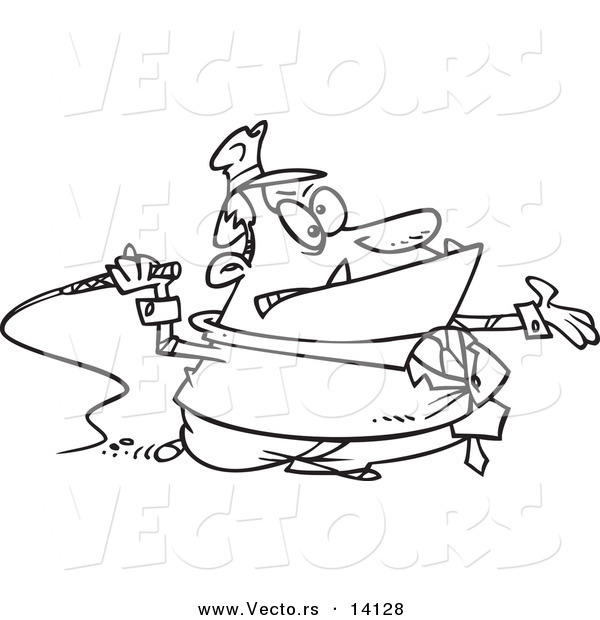 Vector of a Cartoon Tax Grabber with a Whip - Coloring Page Outline