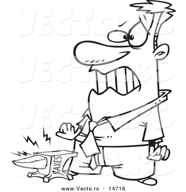Vector of a Cartoon Taxes Anvil Smashing a Businessman's Foot - Coloring Page Outline