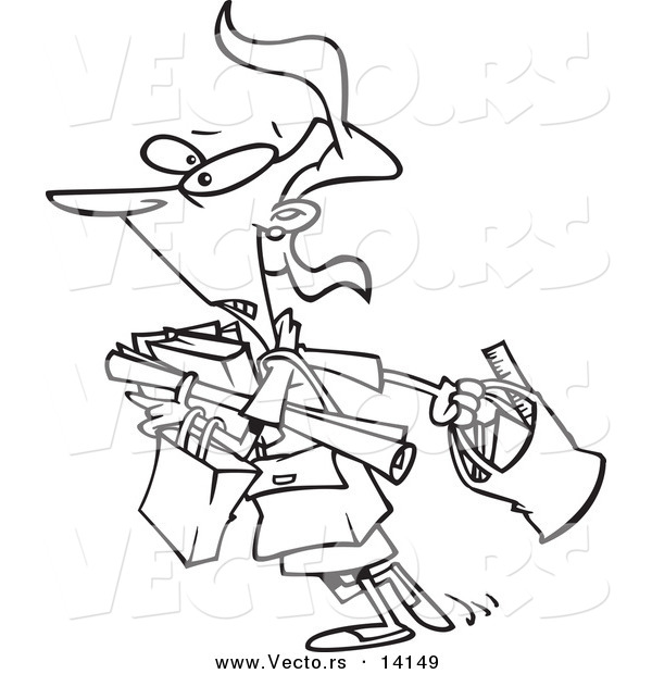 Vector of a Cartoon Teacher Carrying a Lot of Items to Her Class - Coloring Page Outline
