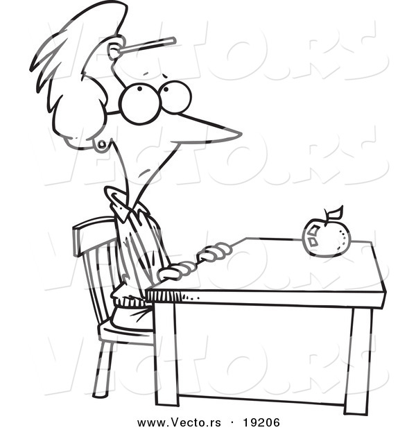 Vector of a Cartoon Teacher Sitting at Her Desk with a Dart on Her Forehead - Outlined Coloring Page