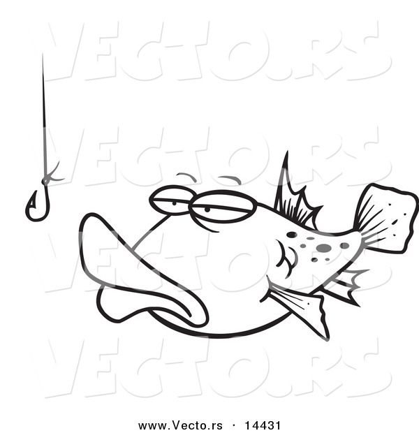 : Vector of a Cartoon Tempted Fish Staring at a Hook - Coloring Page Outline