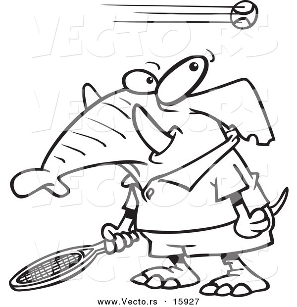 Vector of a Cartoon Tennis Elephant - Outlined Coloring Page Drawing