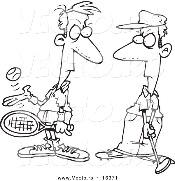 Vector of a Cartoon Tennis Player Glaring at a Golfer - Outlined Coloring Page Drawing