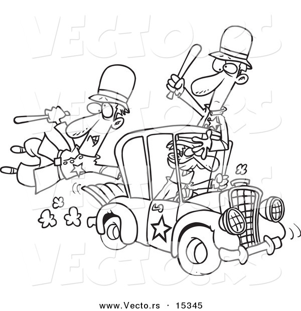 Vector of a Cartoon Thief Stealing a Police Car - Coloring Page Outline