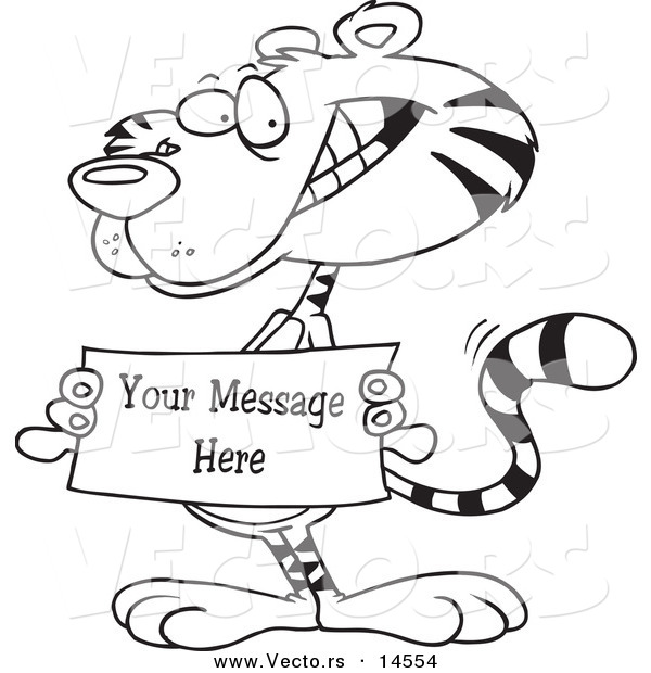 Vector of a Cartoon Tiger Holding a Sign with Sample Text - Coloring Page Outline