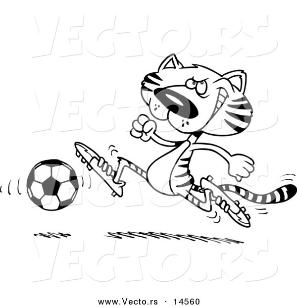 Vector of a Cartoon Tiger Playing Soccer - Coloring Page Outline