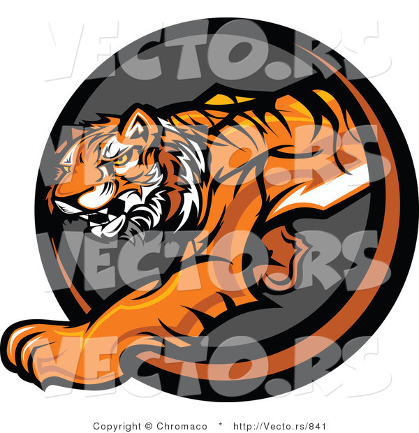 Vector of a Cartoon Tiger Stalking Icon