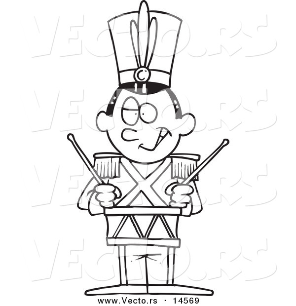 Vector Of A Cartoon Tin Soldier Drumming
